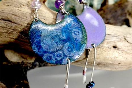 Abstract Blue Circle Enamel and Amethyst Earrings