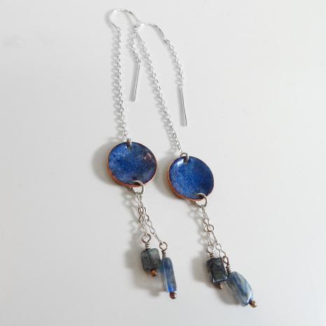 Blue Enamel Threaded Drops