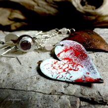 One-of-a-Kind Enamel Heart Dangle Earrings