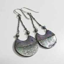 Water Pattern Enamel Earrings