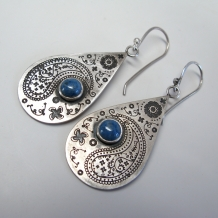 Paisley Teardrop Earrings with Lapis