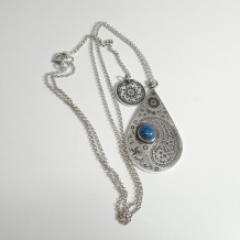Paisley Teardrop Necklace with Denim Lapis Lazuli