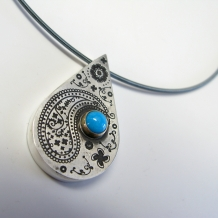 Paisley Hollow Formed Pendant with Turquoise