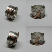 Bird on a Branch Custom Quote Ring