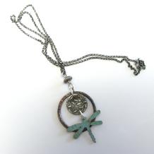 Leaf Pattern Dragonfly Necklace