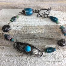 Leaf Pattern Turquoise Bracelet