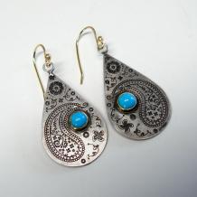Paisley Teardrop Earrings with Turquoise
